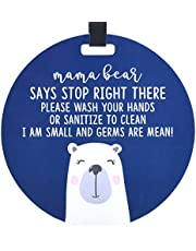 (Three Little Tots) Mama Bear Tag - Wash Your Hands Germs are Mean Sign (Boy Preemie Sign, Newborn, Baby Car Seat Tag, Stroller Tag, Baby Preemie No Touching Car Seat Sign)
