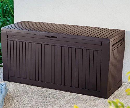 K/R Outdoor Storage Deck Box 71 Gallon Resin Garden Organizing Container in Espresso Brown by K/R