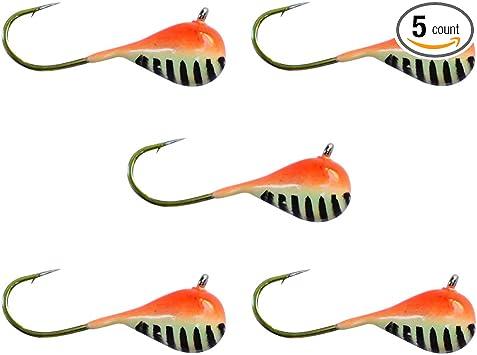 6mm #8 Hook Large Hook Series Orange//Green Stripe Glow Tungsten Jig 3 PACK
