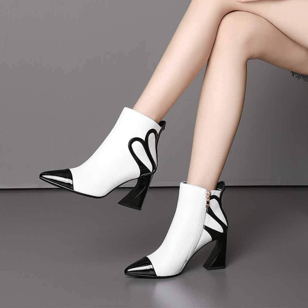 WANG-LONG Schuhe Damen Martin Herbst Winter Leder Leder Leder Spitzen High Heel Kurze Warm Atmungsaktiv Rutschfest Weiß-39 168cab