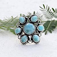 Larimar Ring Floral Jewelry Unique Piece Vintage Jewelry Royal look Cocktail Ring Larimar Jewelry