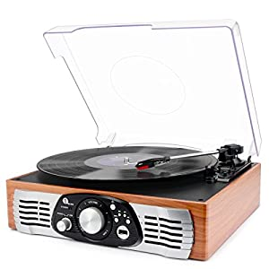 Ratings and reviews for 1byone Belt-Drive 3-Speed Stereo Turntable with Built in Speakers, Supports Vinyl to MP3 Recording, USB MP3 Playback, and RCA Output, Natural Wood