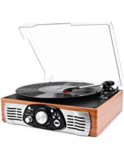 1 BY ONE Belt-Drive 3-Speed Stereo Record Player Turntable with Built in Speakers (Natural Wood)