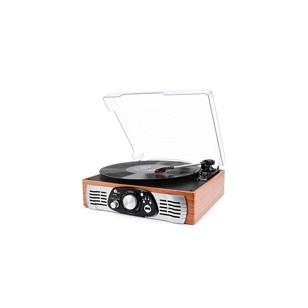 1byone Belt-Drive 3-Speed Stereo Record Player, Turntable with Built in Speakers, Supports Vinyl to MP3 Recording, USB MP3 Playback, and RCA Output, Natural Wood
