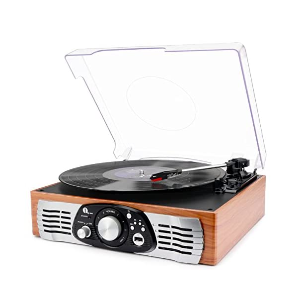 1byone Belt Drive 3 Speed Stereo Turntable with Built in Speakers, Natural Wood 3