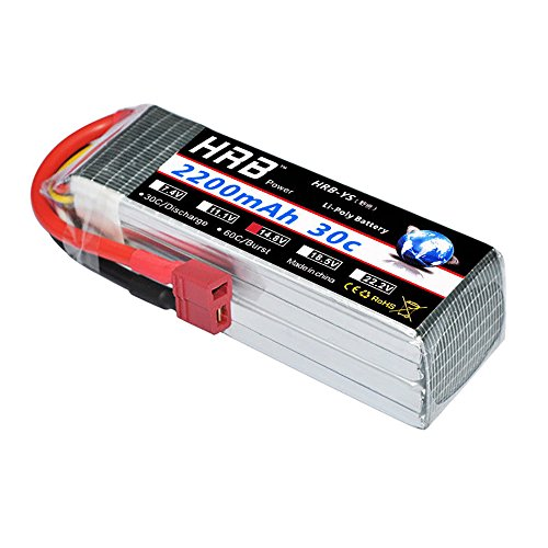 HRB 2200mAh 14.8V 4S 30C RC LiPo Battery Pack with Dean-T Plug for RC Airplane Helicopter Quadcopter Vehicle (Lipo Race Pack)