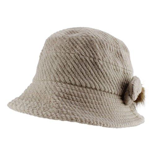 Morehats Faux Fur Ball Ribbon Corduroy Wool Bucket Boonie Hip-Hop Fishing Hiking Sun Packable Hat - Grey