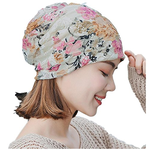 Womens Head Scarf, India Muslim Scarf Hat Lightweight Stretch Turban Hat Lace Floral Print Hair Wrap Headwear (Beige 001)