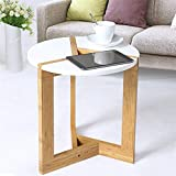 Malayas Modern Round Side Tea Coffee Table Small White End Tables Living Room Bed Room Bar Hotel Bamboo Leg
