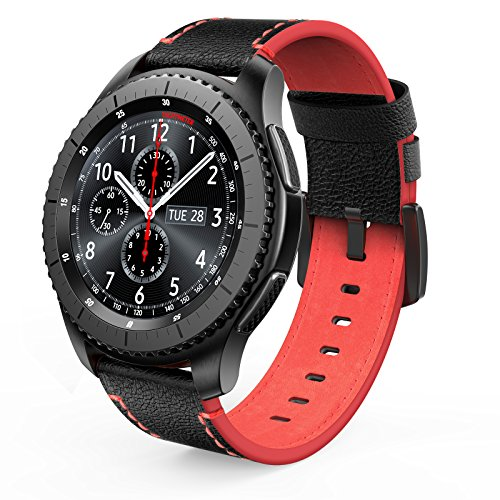 SWEES Leather Bands Compatible Gear S3 Frontier & Classic and Galaxy Watch 46mm, Genuine Leather 22mm Strap Replacement Wristband Compatible Samsung Gear S3 Smartwatch, Black