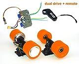 L-faster Electric Skateboard Brushless Hub Motor Kit DIY Child E-Board Electric 4-Wheel Skateboard Dual Drive Conversion Kit with Remote (Orange kit)