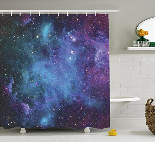 (Ambesonne Space Decorations Shower Curtain Set, Galaxy Stars in Space Celestial Astronomic Planets in The Universe Milky Way Print, Bathroom Accessories, 69W X 70L inches, Navy Purple)