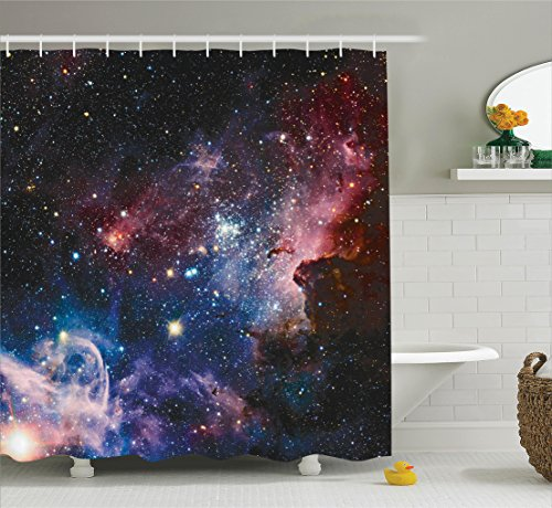 Ambesonne Space Decorations Collection, Stars Nebula, Colorful Explosive in Space Galaxy Astronomic Magical Picture Print, Polyester Fabric Bathroom Shower Curtain Set with Hooks, Navy Pink - Galaxy Curtains