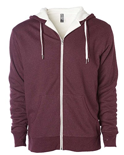 Global Unisex Heavyweight Sherpa Lined Zip Up Fleece Hoodie Jacket Burgundy M