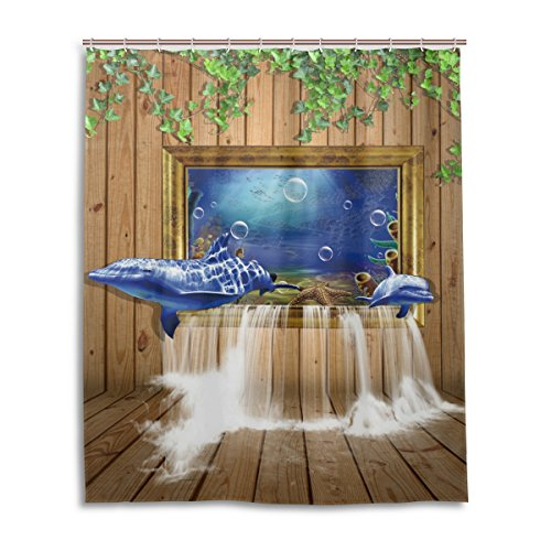 Dolphin Waterfall (WIHVE Dolphin Board Window Waterfall Four Seasons Shower Curtain Mildew Resistant Waterproof Bath Curtain Fabric for Bathroom Decorations in 60 x 72 Inches (With 12 Free Plastic Hooks))