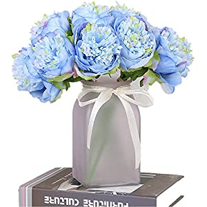 Greentime 1Bouquet 5 Heads Artificial Peony Silk Fake Flower Leaf Living Room Home Bridal Wedding Party Festival Bar Table Decor 22