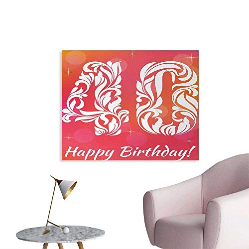 Mario Mill Orange - Tudouhoho 40th Birthday Wall Poster Happy Greeting Theme Celebration Number Forty Artistic and Starry Home Decor Wall Pink Orange White W36 xL24