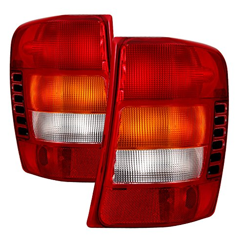 VIPMOTOZ Red & Amber Lens OE-Style Tail Light Lamp Assembly For 1999-2004 Jeep Grand Cherokee, Driver & Passenger Side