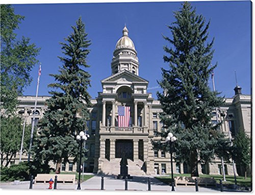 """""""The Wyoming State Capitol Building"""" by National Geographic, Canvas Print Wall Art, 60"""" x 39.125"""", Mirrored Gallery Wrap, Glossy Finish"""