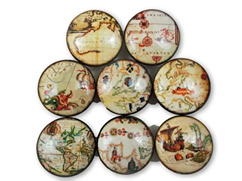 Set of 8 Old World Nautical Map Cabinet Knobs (Map Drawer Pulls)