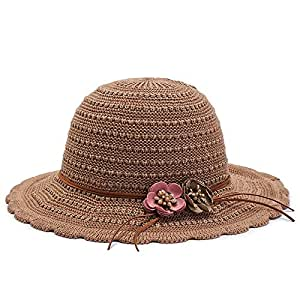 HMJZLywei Spring and Summer hat Female Big Along The Solid Color Breathable Sun Visor hat Fashion hat Sunscreen Beach hat Sunshade Straw hat (Color : Khaki)