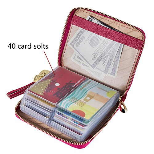 Zipper Case Card Credit Red Purse Wallet Women's Id 40 Safecard Window Rose And 2 Holder CzqZRgnn4