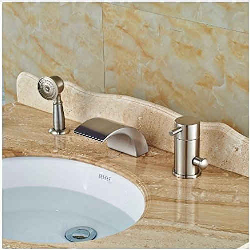 Gowe Widespread Brushed Nickle Tub Faucet Bathroom Sink Tap Mixer Faucet W/Hand Showe 1