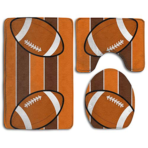 QSYBY Bathroom Anti-Skid Pad Cleveland Browns Fabric (3886) 3 Piece A Set of Toilet Rug Mat Lid - Cleveland 2 Piece Browns Car