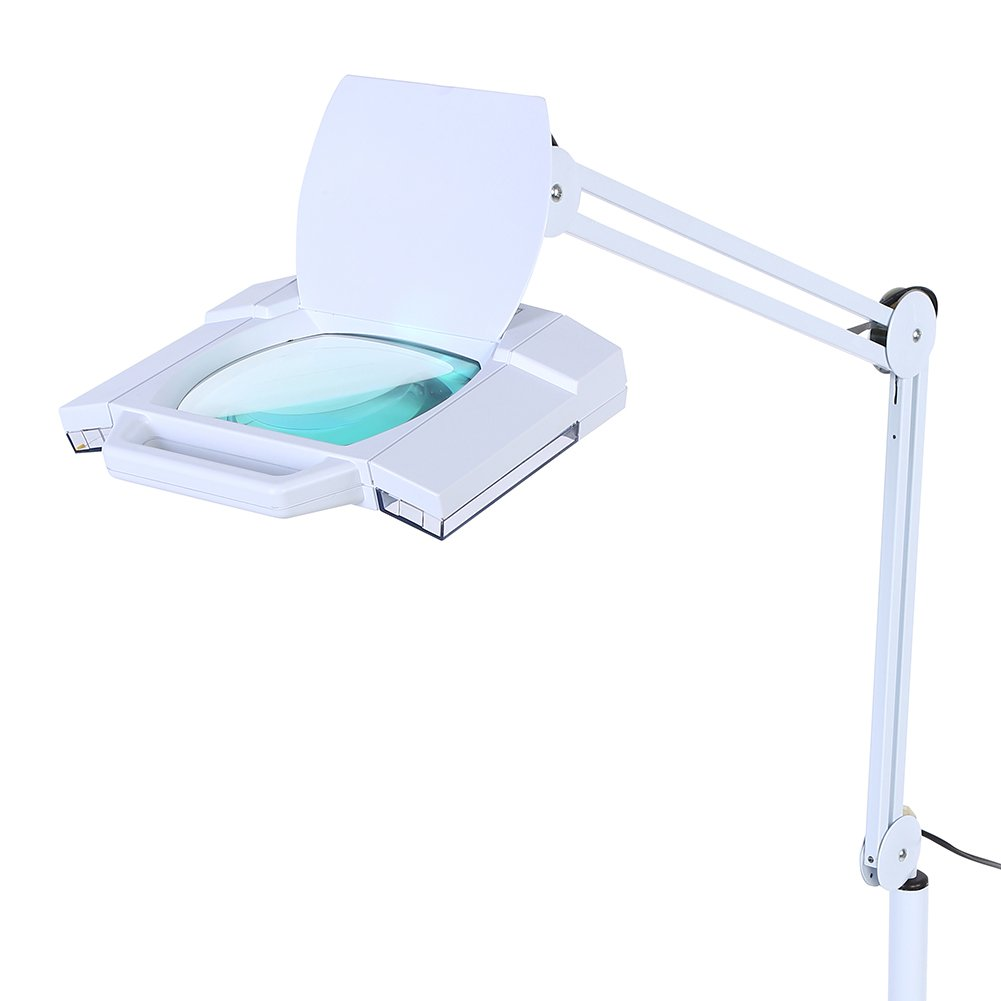Magnifying Lamp, Adjustable Pro LED Magnifying Floor Lamp Daylight Bright Magnifier Lighted Glass Lens for Reading Task Craft by Zerone (Image #6)