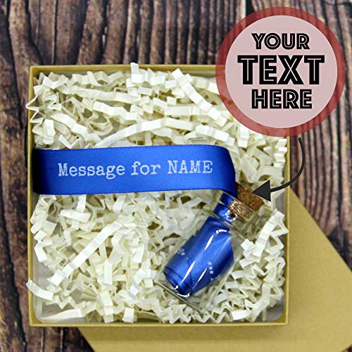 Message in a Bottle with Your Text | Personalized Romantic Gift for Her Him | Love Gifts for Girlfriend Boyfriend | Birthday Message for Women Men | I Love You Gift | 13 Colors | Blue/White