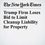 Trump Firm Loses Bid to Limit Cleanup Liability for Property | Barry Meier