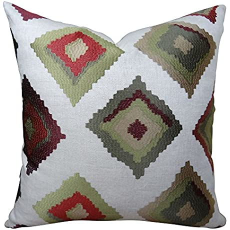 Plutus Brands Plutus Red Earth Native Trail Handmade Throw Pillow 20 X 26 Standard White Green Red
