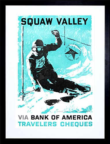Wee Blue Coo 9x7 '' Sport AD 1960 Olympic Games Squaw Valley SKI Framed Art Print -