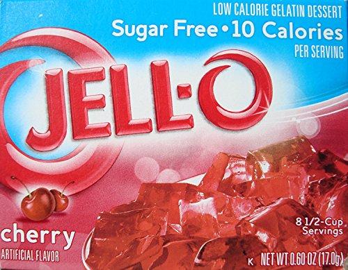 Jell-O Cherry Flavor Sugar Free Gelatin 0.6 oz (4 Pack) ()