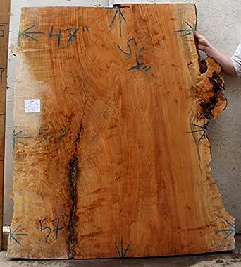 Maple Wood Slab Natural Live Edge Tabletop Curly Birdseye Burl Figured  Lumber Headboard Kitchen Island Rustic Wooden Coffee Table Top 4691a4:  Amazon.com: ...