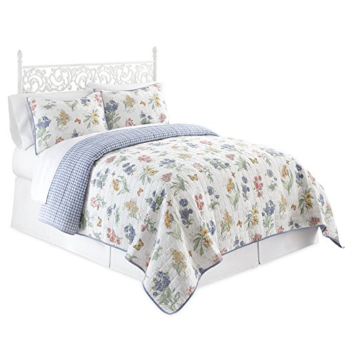 - Lenox Butterfly Meadow 3 Piece Quilt Set, Queen, Multicolor