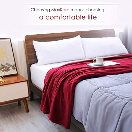 Electric Heated Blanket Twin Size 62'' x 84'' Super Cozy Soft Fleece Fast Heating & ETL Certification with 10 Hours Auto-Off & 4 Heating Levels - Red Wine