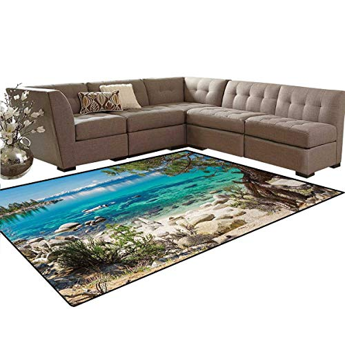 e Snowy Mountain Reflection on Clear Water Rocky Shore View,Dining Room Home Bedroom Carpet Floor Mat,Light Blue Green Eggshell,6'6