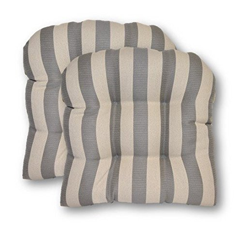(Resort Spa Home Decor Set of 2 - Universal Tufted U-Shape Cushions for Wicker Chair Seat~Grey/Gray and Ivory Stripe)