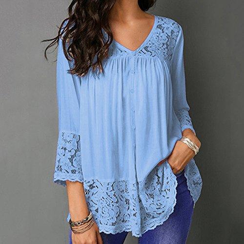 V Chemisier Elegant Taille Tonsi Bleu T Grande Col Ciel Top Longue Manche Dentelle Hauts Blouse Shirt qwqS7a
