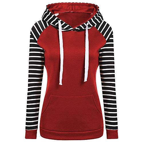 Classic Tall Stripe Cable - Newest Women's Hoodies,Sunyastor Long Sleeve Patchwork Stripe Hooded Pullover Casual Sweatshirts Blouses Tops Shirt for Women