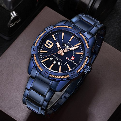 NAVIFORCE Men's Sports Waterproof steel band Week Date Wrist Watch 9117 Blue