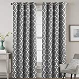 Blackout Bedroom Curtain Thermal Insulated Energy Efficient Home Decoration Geometric Rustic Style Printed Design Curtains for Living Room Moroccan Printed in Grey, 2 Panels, 52 by 84 Inch