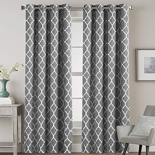 H.VERSAILTEX 2 Panels Blackout Curtains Energy Smart & Noise Blocking Out Blackout Drapes for Dining Room Window Kids Curtains 96 inches Long for Kids Bedroom, Moroccan Printed in Grey