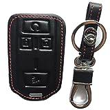 Rpkey Leather Keyless Entry Remote Control Key Fob Cover Case protector For Chevrolet Colorado Silverado 1500 2500 HD 3500 HD GMC Canyon Sierra 1500 2500 HD 3500 HD M3N-32337100 22881480(black)