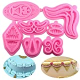 VALINK 7pcs/lot Frosting Texture Lace Silicone Molds Cake Border Decor Mould Fondant Cake Decorating Tool Sugar Paste Chocolate Candy Fimo Clay Mold Bakeware Form Kitchen Baking Supplies