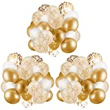 60 Pack Gold Balloons + Gold Confetti Balloons