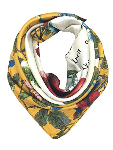 YOUR SMILE Silk Feeling Scarf Women's Fashion Pattern Red Flower Large Square Satin Headscarf (303) ()