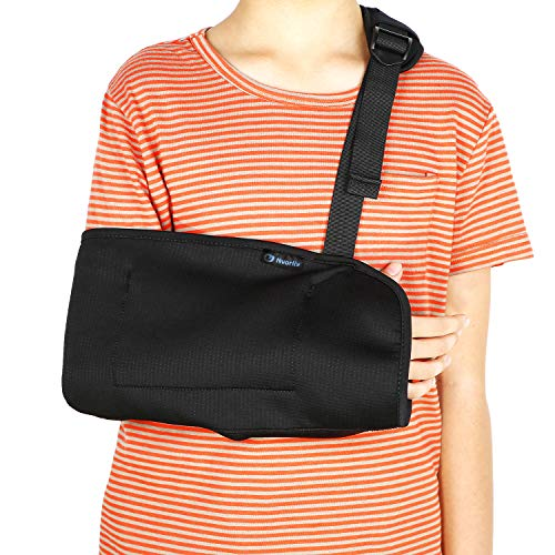 Child Arm Sling, Pediatric & Toddlers Adjustable Shoulder Support Strap for Broken, Fractured Wrist, Rotator Cuff Full Soft Immobilizer Fits Kids, Youth, Teens, Left or Right Arm