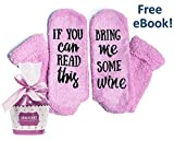 """Luxury Wine Socks """"If You Can Read This Bring Me Some Wine"""" in Cupcake Gift Packaging - Novelty..."""